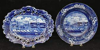 Historical Blue Staffordshire Bowl and Tray
