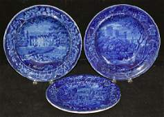 Three Pcs. Woods Staffordshire Blue Transfer China