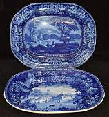 Two Staffordshire Blue Transferware Platters