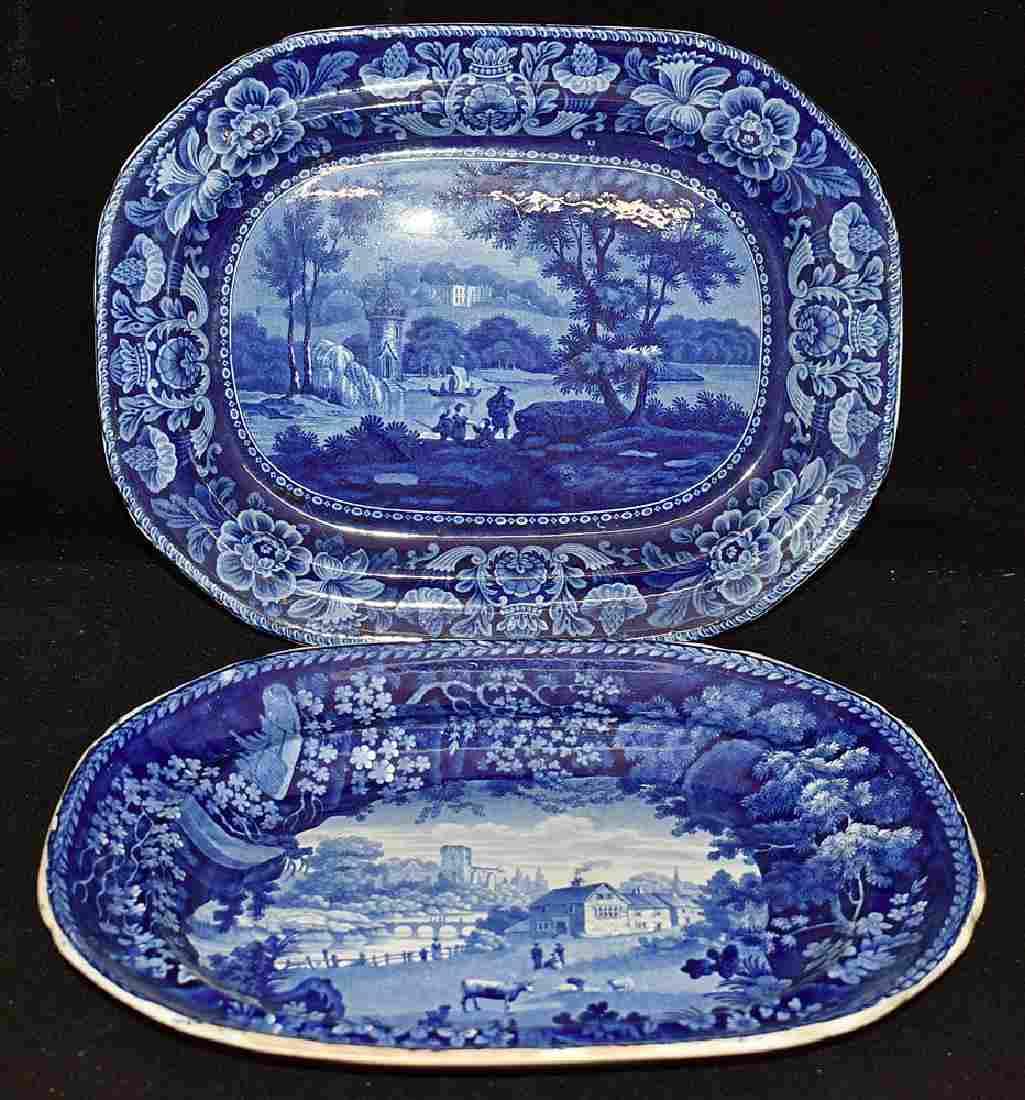 Two Staffordshire Blue Transferware Platters