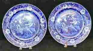 Two Clews Staffordshire Blue Transferware Plates