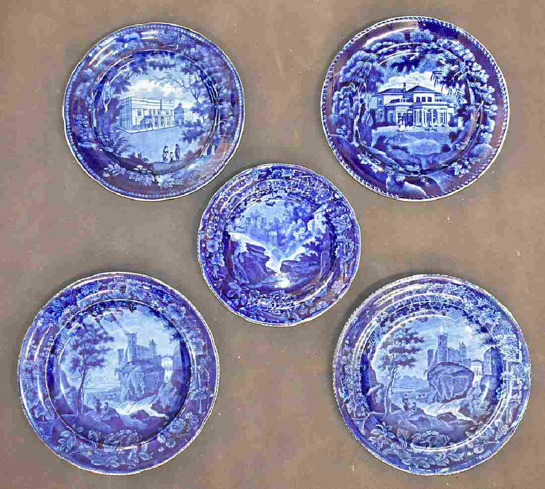 Five Staffordshire Blue Transferware China Plates