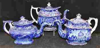 Three Staffordshire Blue Transferware Teapots
