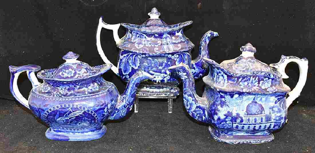 Three Staffordshire Blue Transferware Teapots