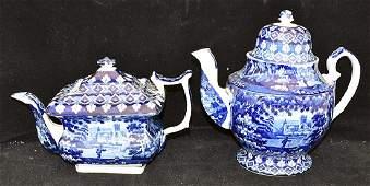 Staffordshire Blue Transferware Coffeepot & Teapot