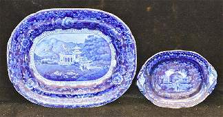 Two Pcs of Staffordshire Blue Transferware China