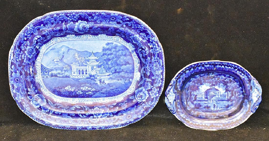 Two Pcs. of Staffordshire Blue Transferware China