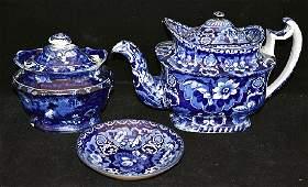 Staffordshire Blue Transfer Teapot, Dish & Sugar