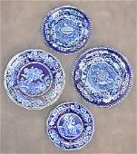 Four Staffordshire Blue Transferware China Plates
