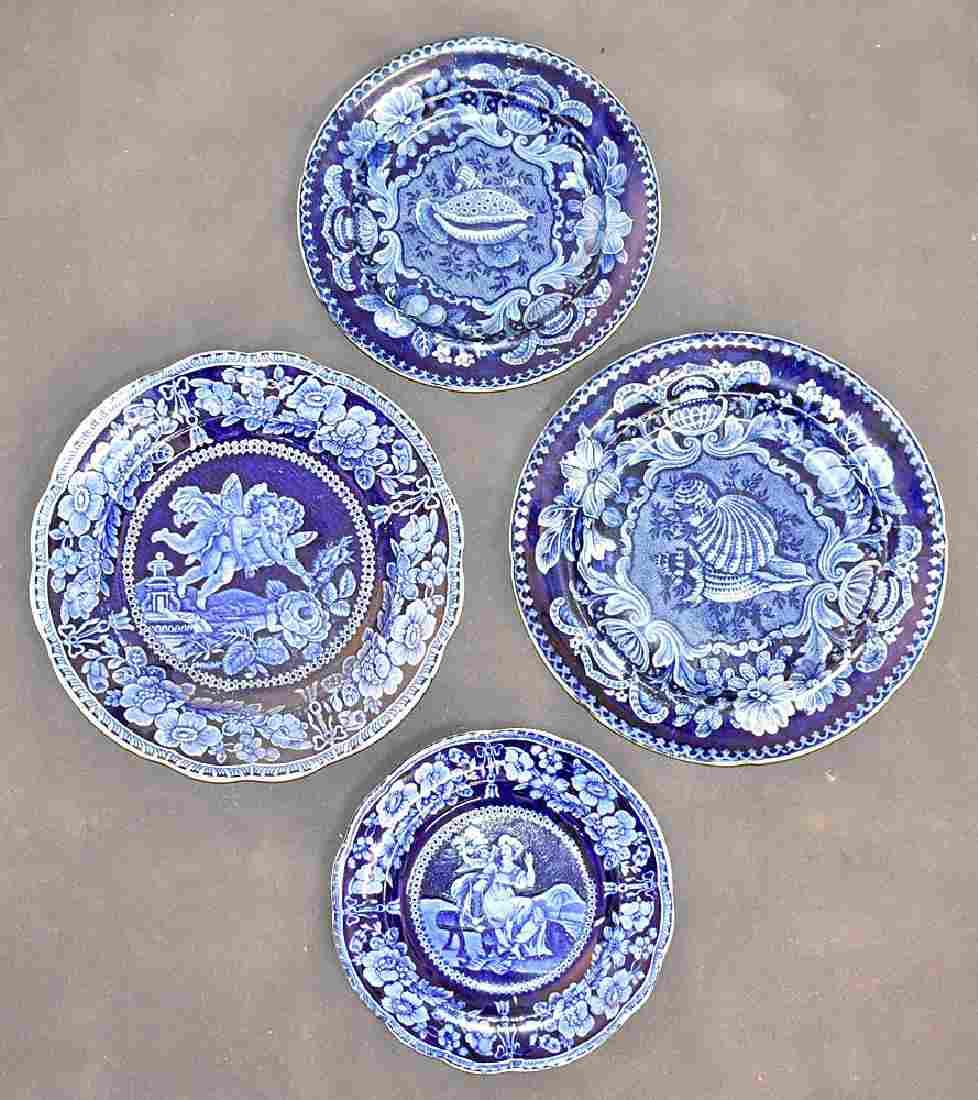 Four Staffordshire Blue Transferware China Plates