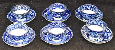 Six Staffordshire Blue Transfer Cups and Saucers