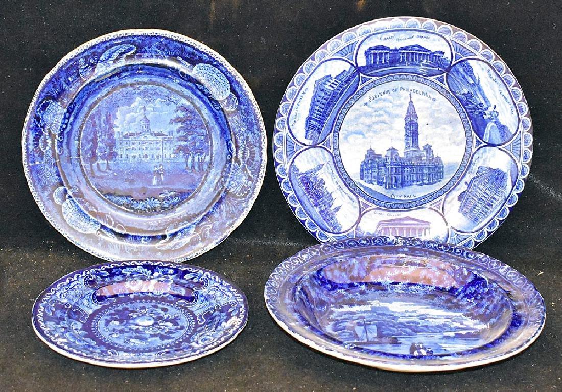 Four Pcs. Staffordshire Blue Transferware China