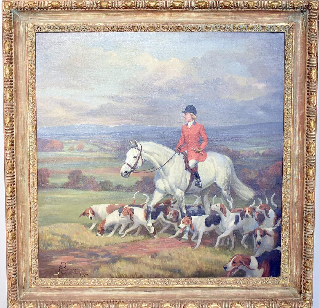 Jean Bowman Oil on Canvas, Hunt Scene