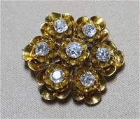 14K Yellow Gold Floral Brooch with Diamonds