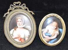 Two 19th C. Miniature Portraits on Porcelain