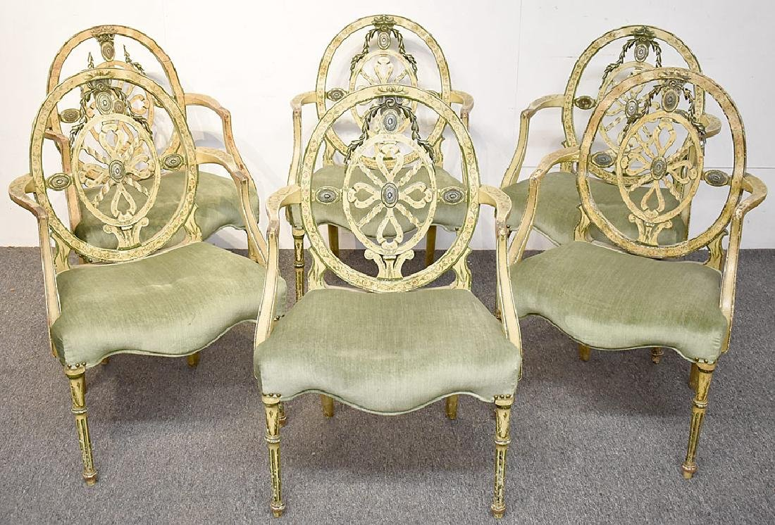 Six Painted Adams Dining Chairs