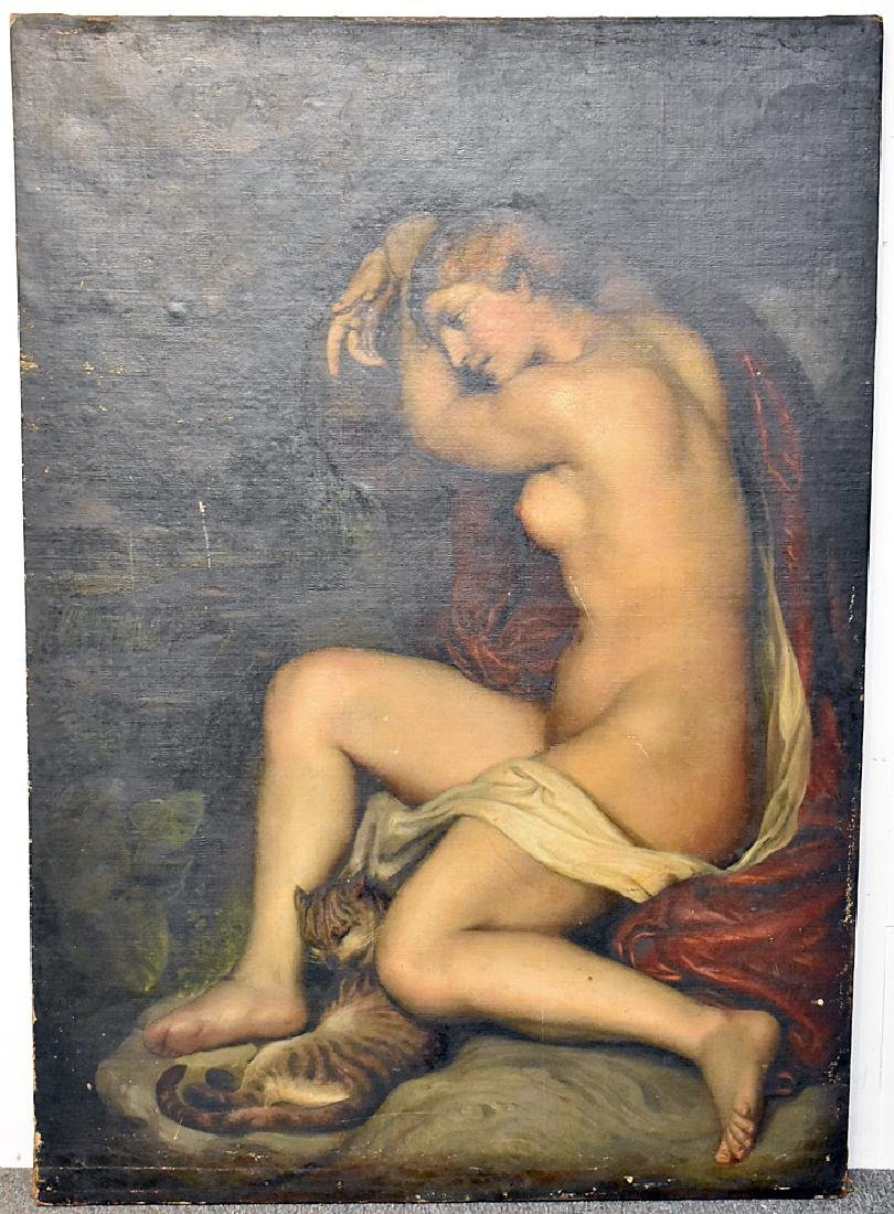 Antique Unsigned Oil on Canvas, Female Nude