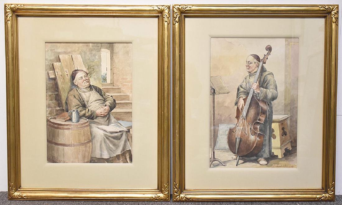 Two Continental School Watercolors of Monks