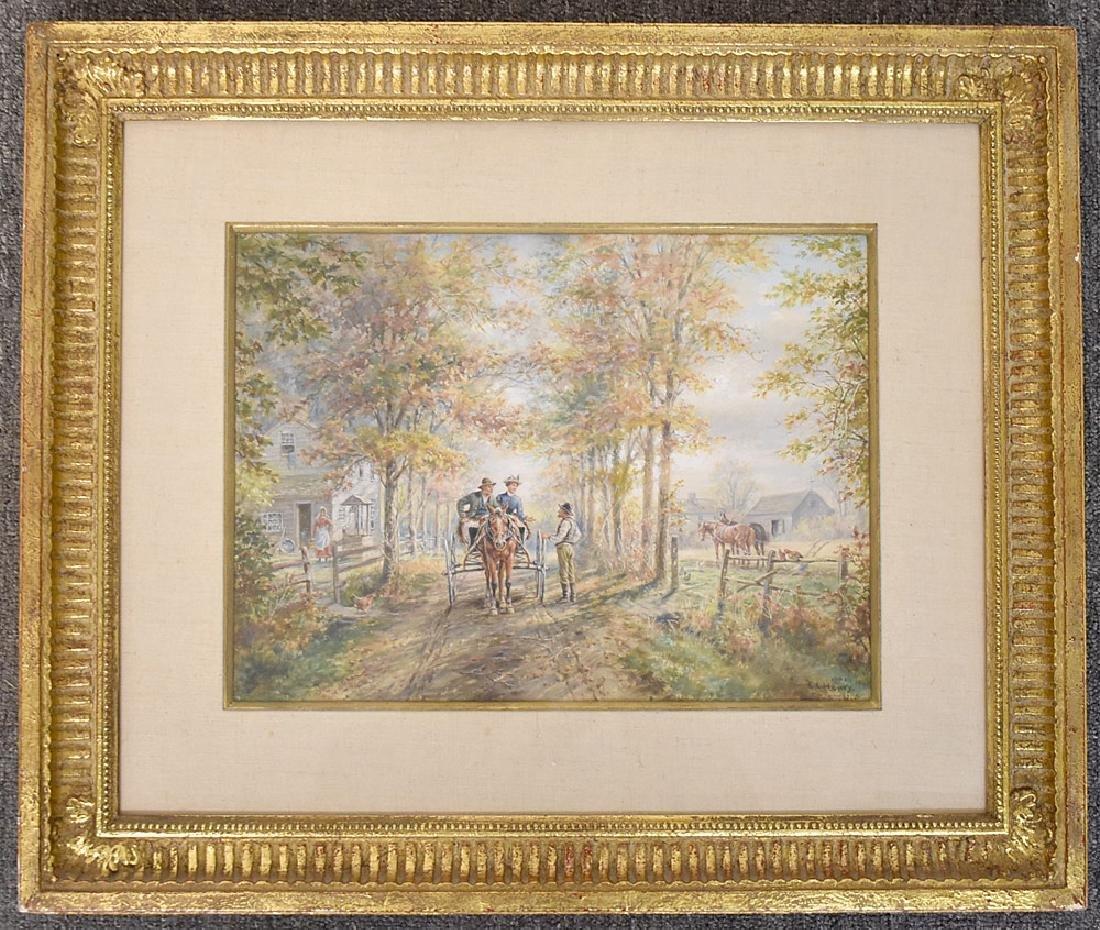 Edward Lamson Henry Watercolor, Neighbors