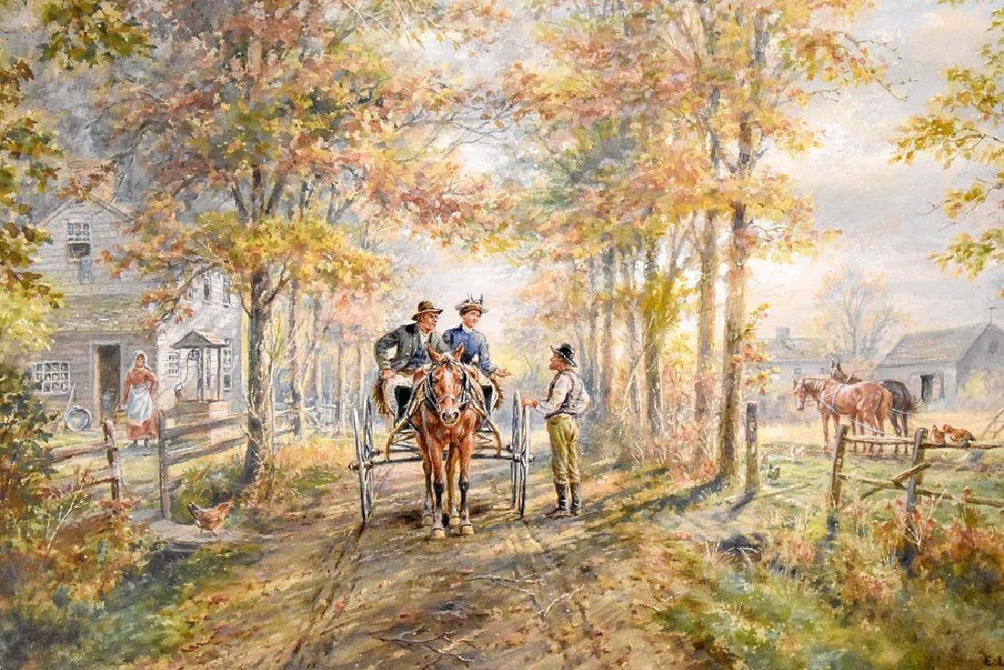 Edward Lamson Henry Watercolor, Neighbors - 2