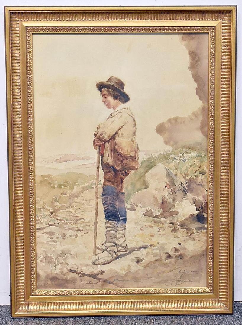 Pietro Benvenuti Watercolor, Peasant Man