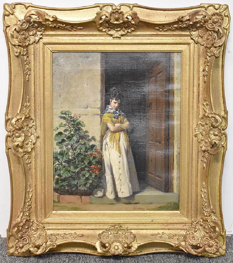 Contreras Oil on Canvas, Woman in Doorway