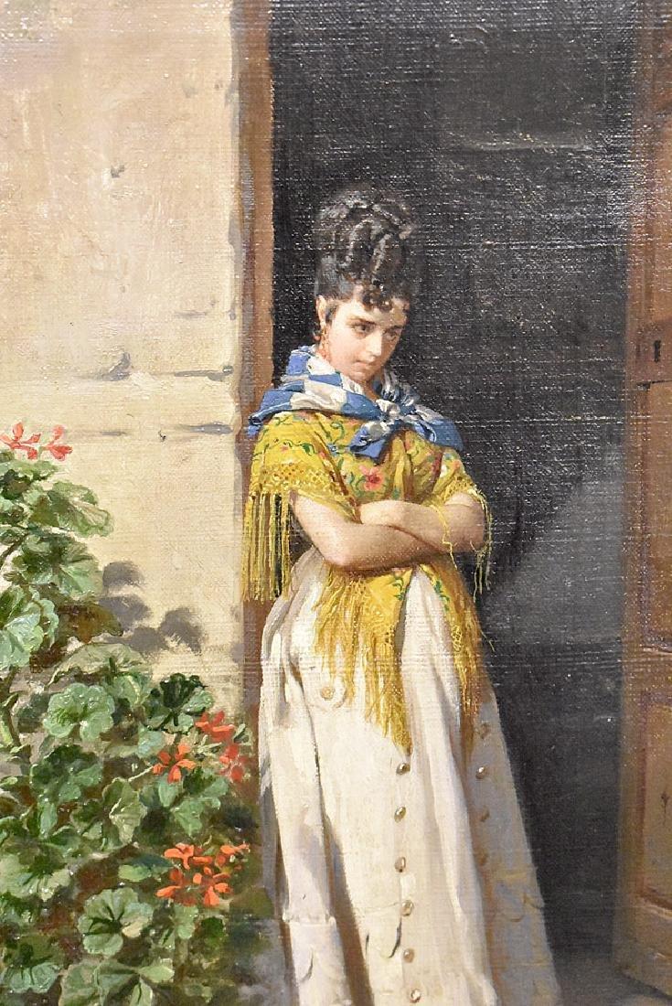 Contreras Oil on Canvas, Woman in Doorway - 2