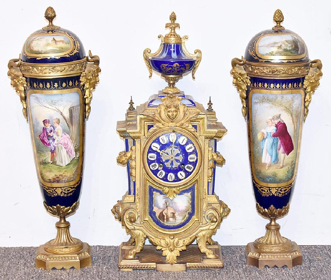 Sevres Gilt Bronze and Porcelain Clock Garniture