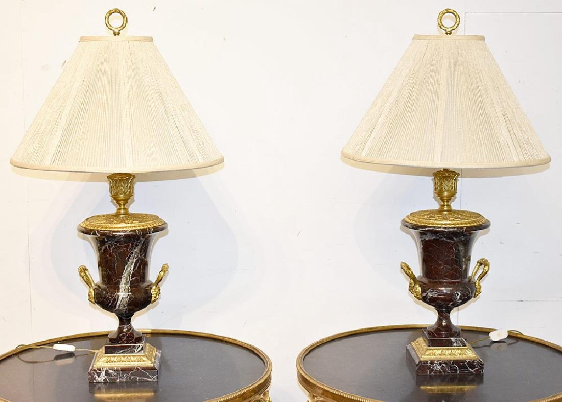 Pair of French Bronze and Marble Urn Lamps
