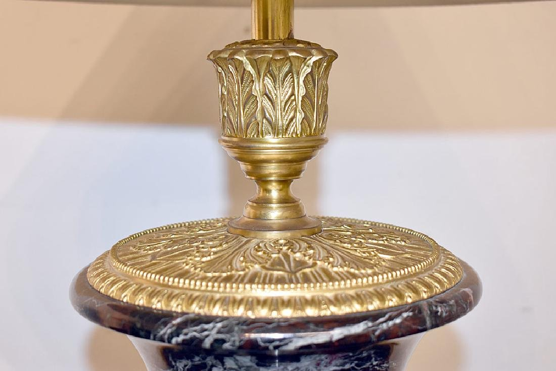 Pair of French Bronze and Marble Urn Lamps - 4