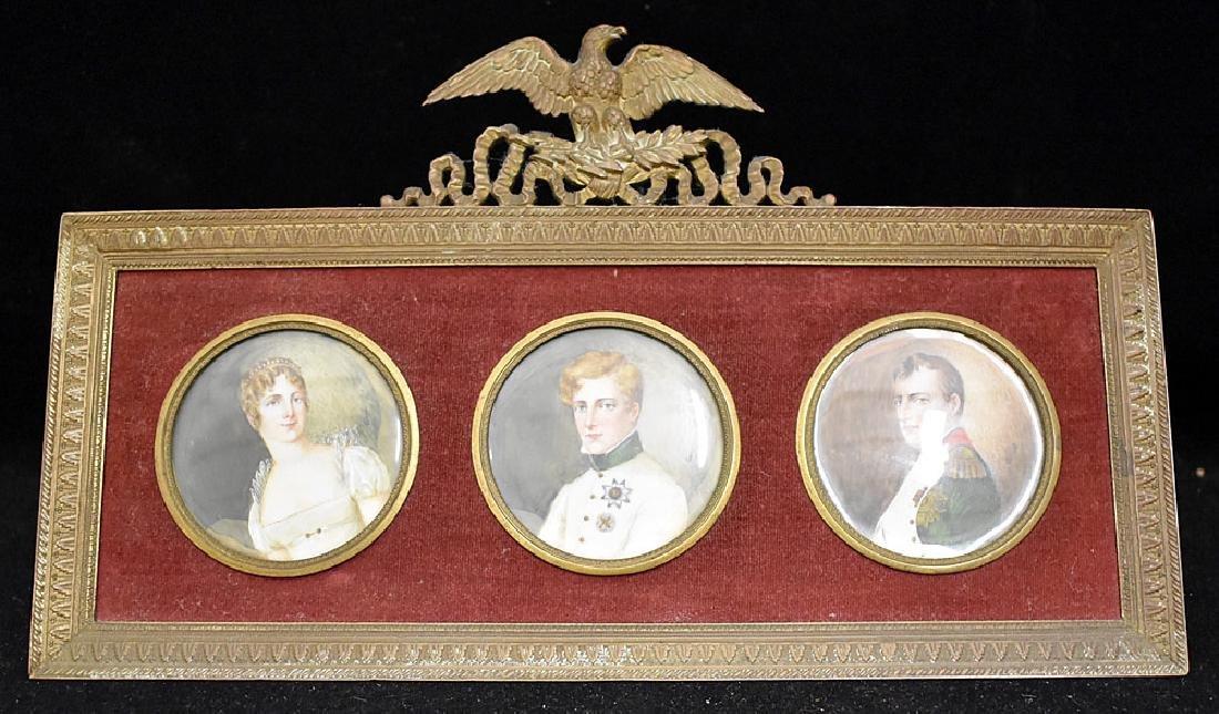 French Napoleonic Miniature Portrait Triptych