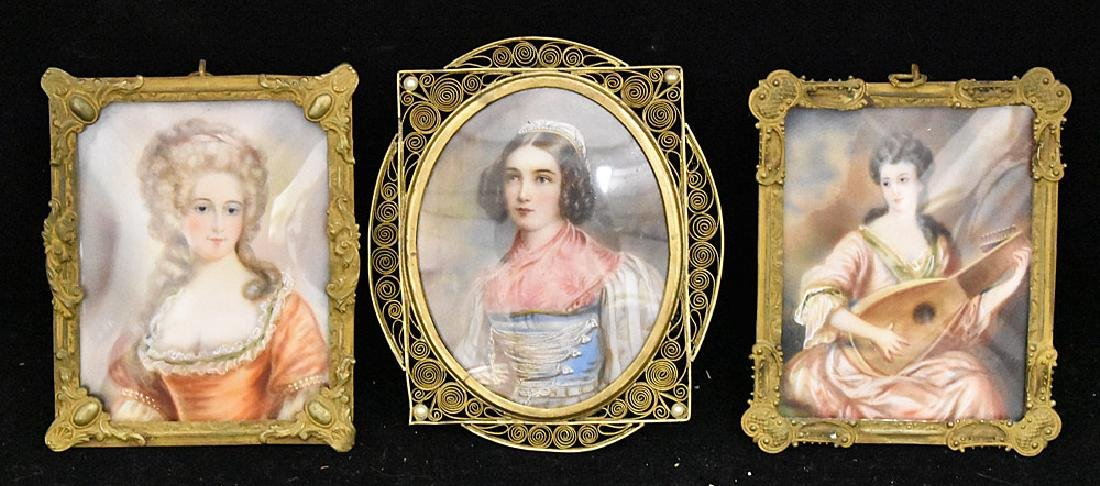 Three 19th Century Miniature Portraits of Women