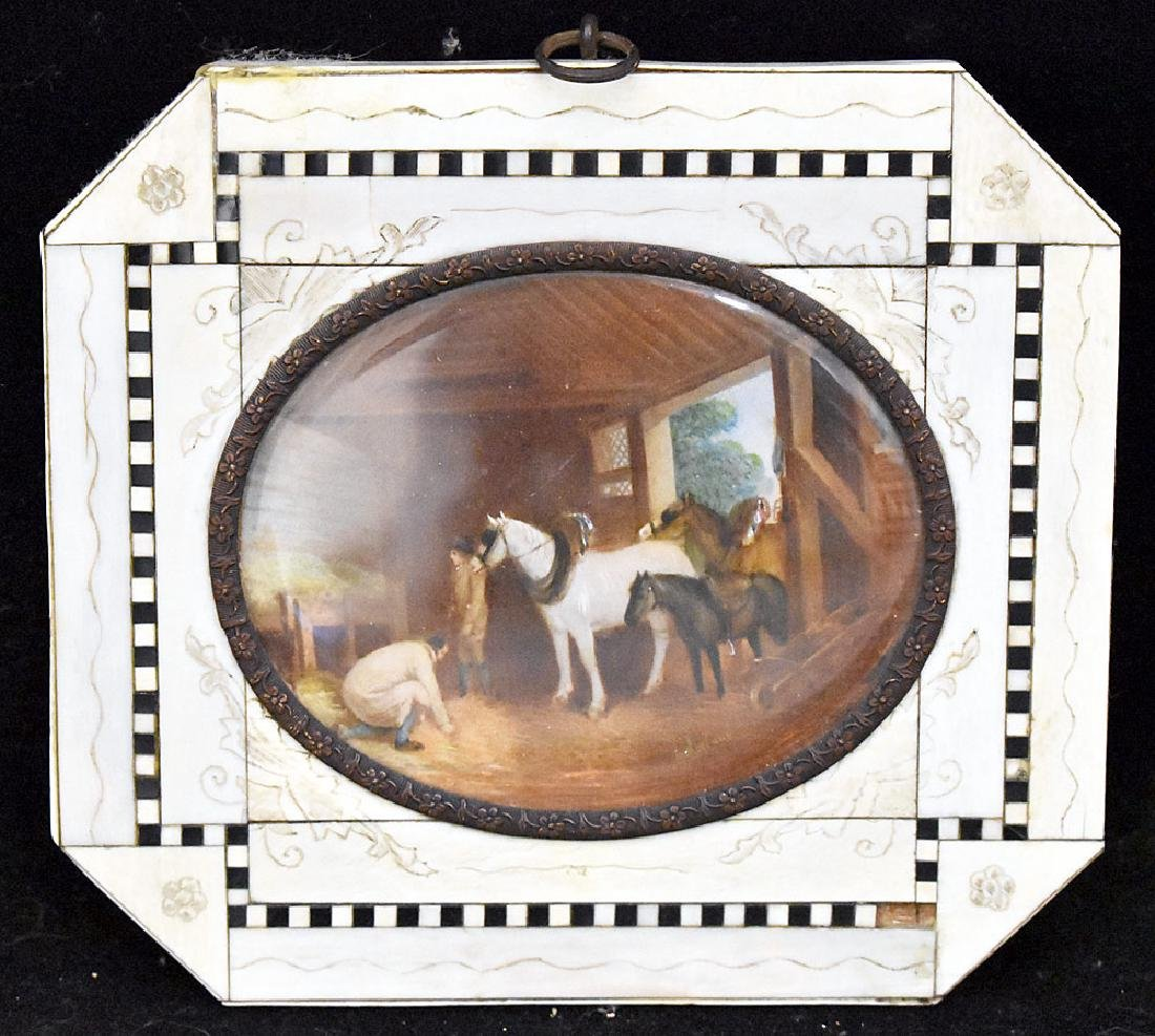 Miniature Painting of a Barn Scene