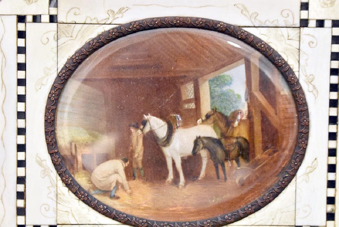 Miniature Painting of a Barn Scene - 2