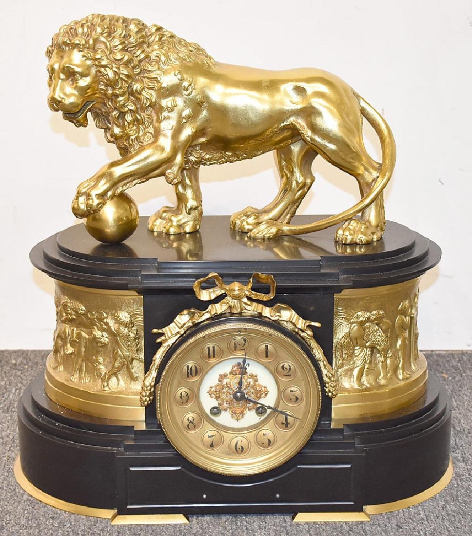 French Empire Gilt Bronze Lion Mantel Clock