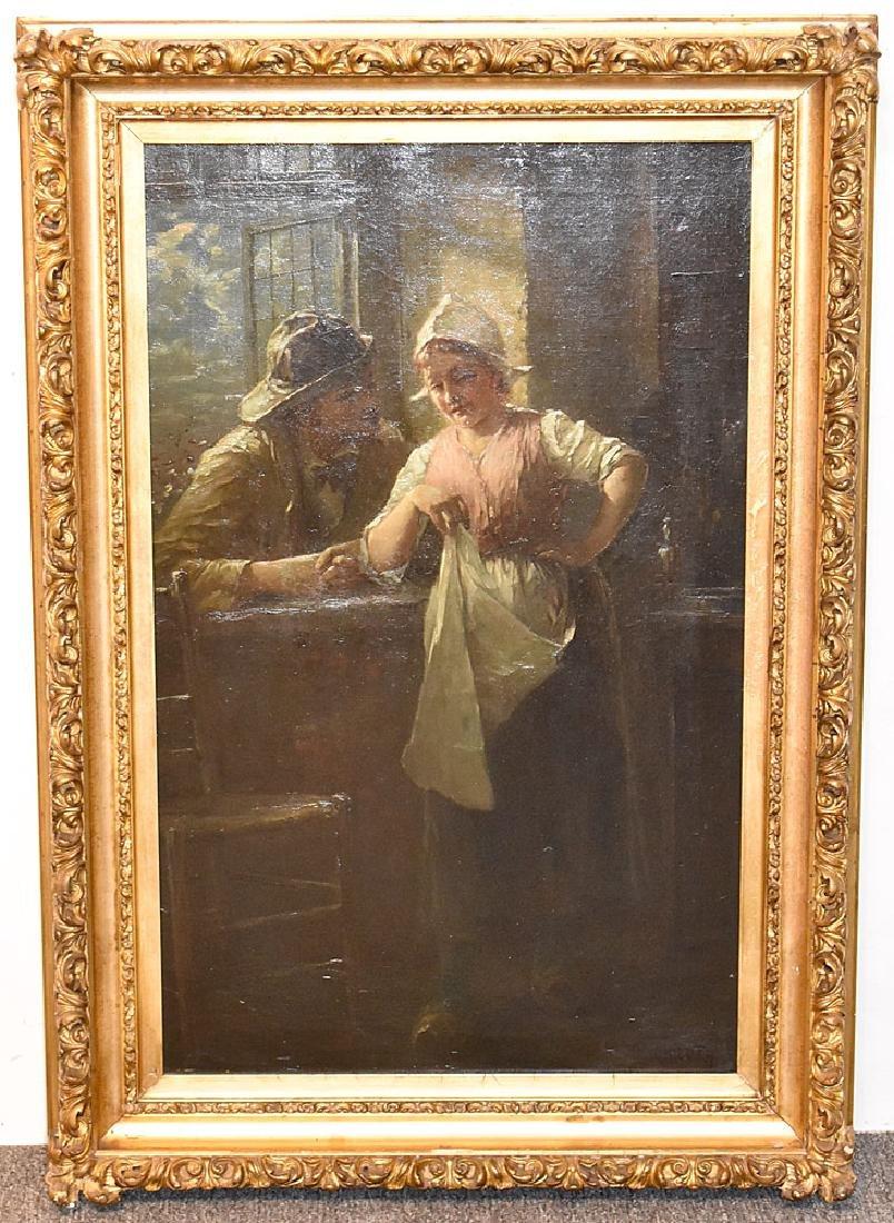 Robert C. Kluth Oil On Canvas, Genre Scene