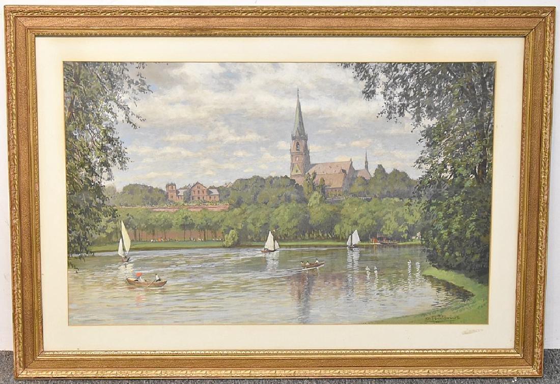 Karl Otto Pratorius Watercolor, Boating on Lake