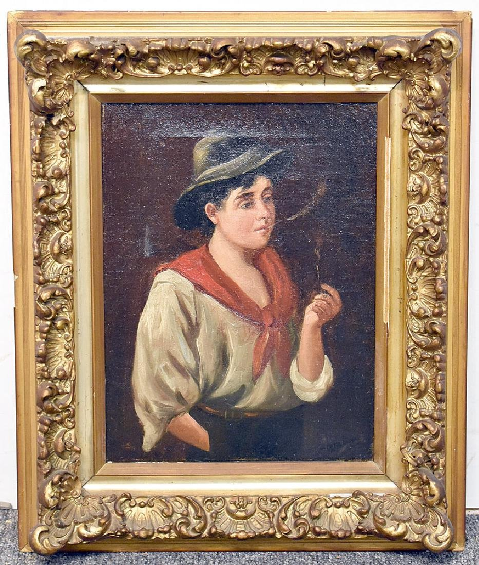Signed Oil on Canvas, Portrait of a Boy Smoking