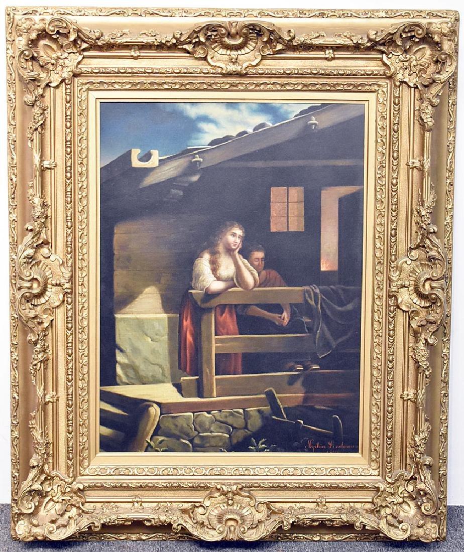 Sophia Lindeman Oil on Canvas, Balcony Scene
