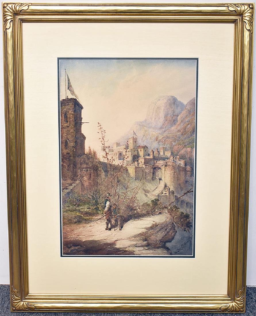 Giovanni Costa Watercolor, Castle in the Mountains