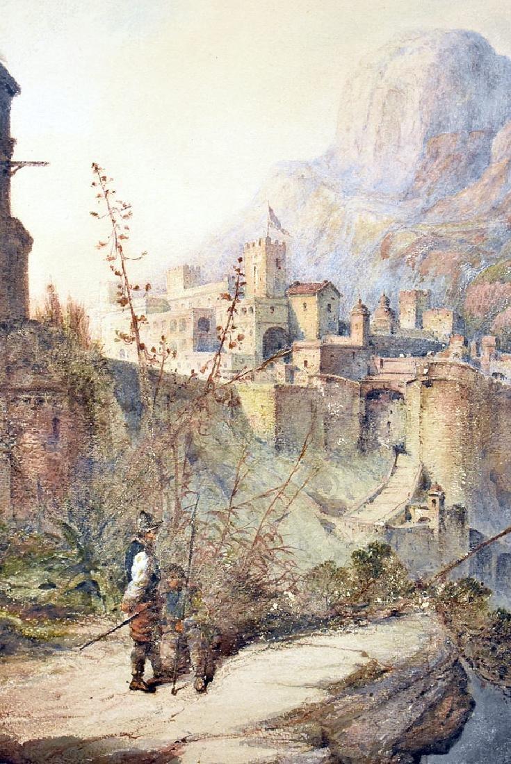 Giovanni Costa Watercolor, Castle in the Mountains - 2