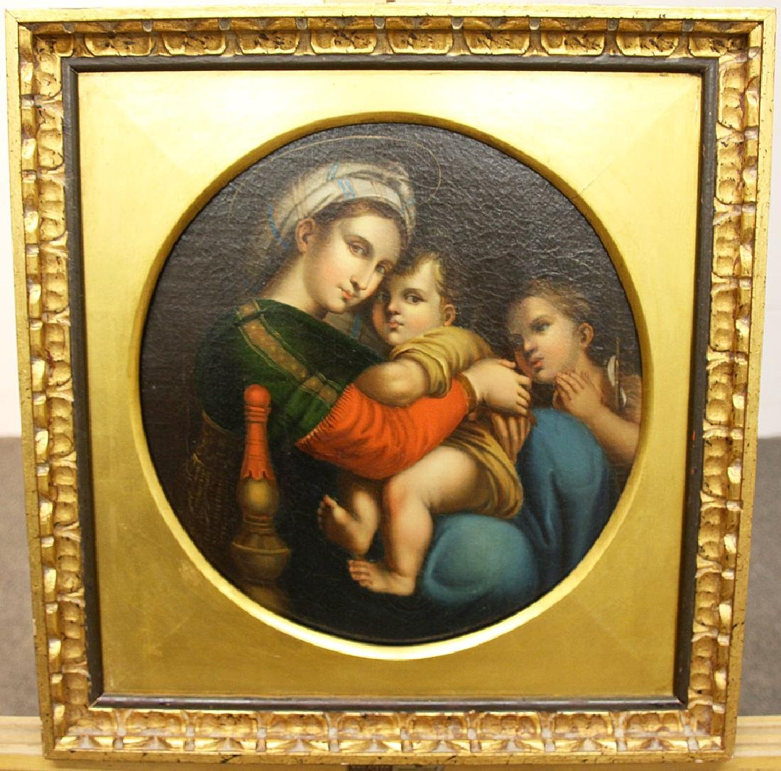 Venetian School Oil on Canvas, Madonna with Child