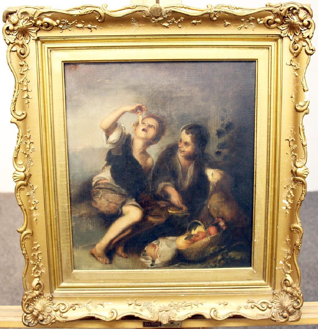 Continental School Oil on Canvas, Genre Scene.