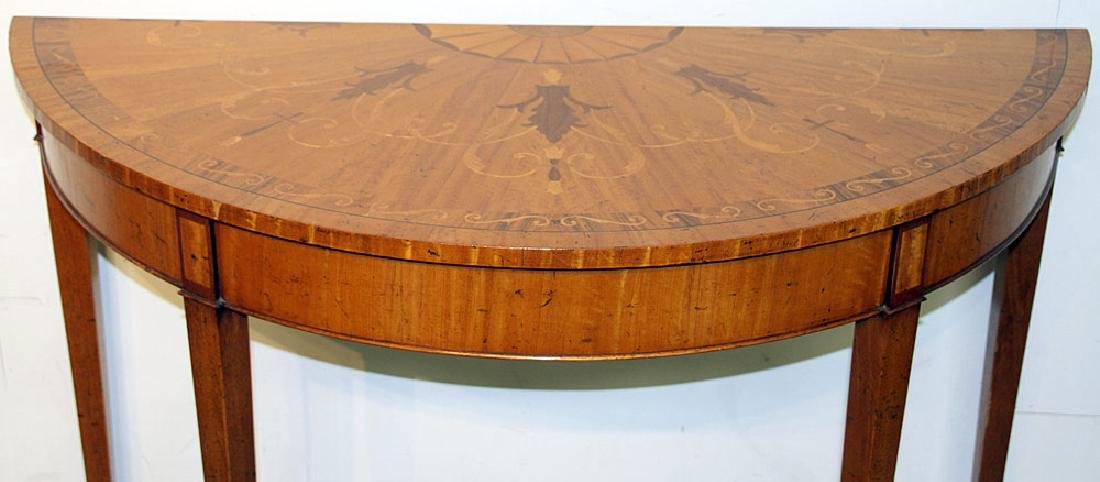 Federal-style Inlaid Mahogany Demilune Console - 2