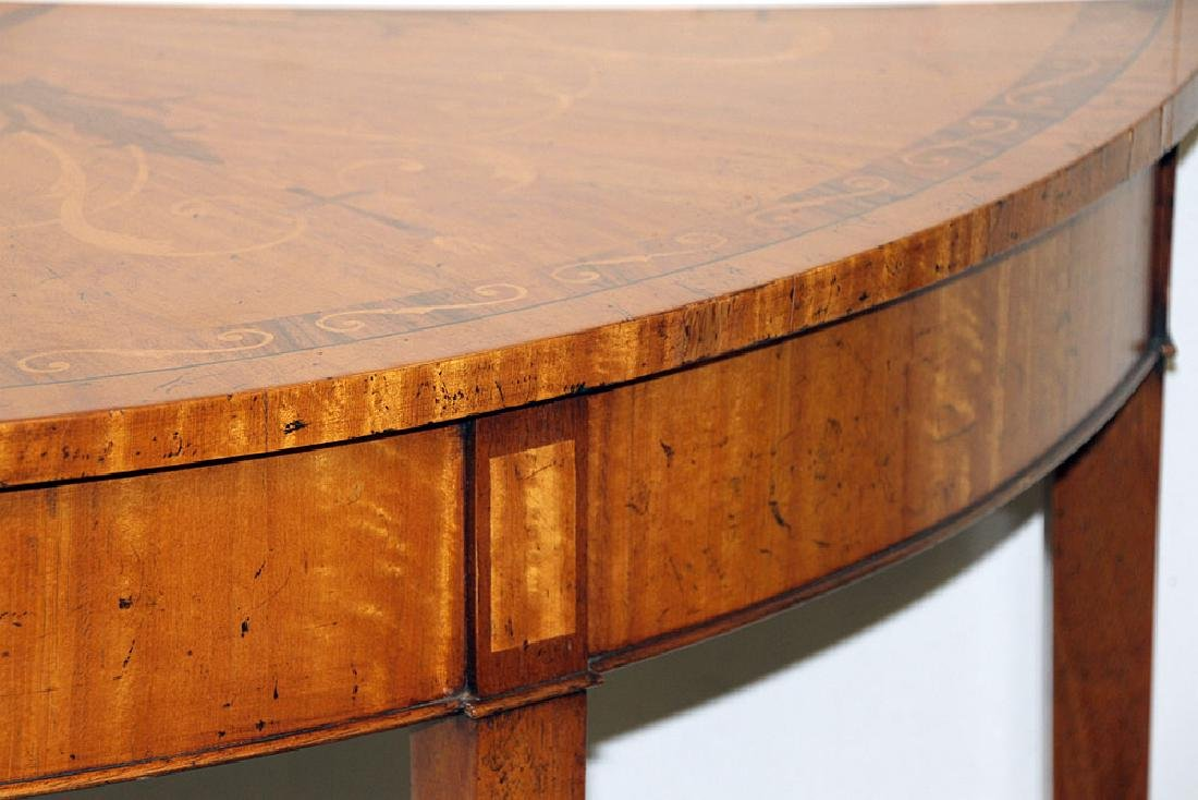 Federal-style Inlaid Mahogany Demilune Console - 3