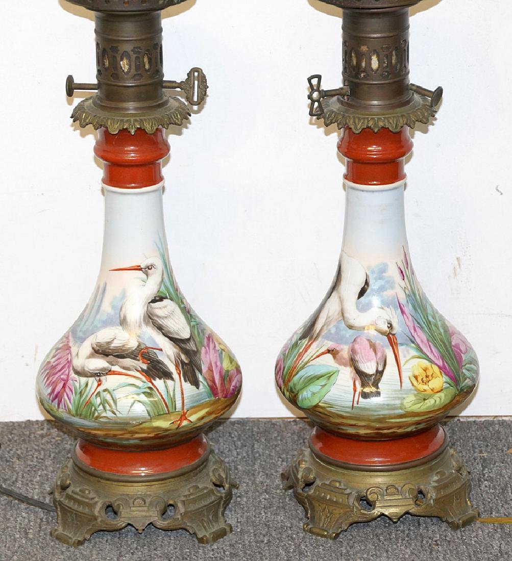 Pair of Victorian Hand-painted Oil Lamps