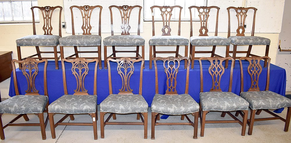 Assembled Suite of 12 Chippendale Dining Chairs
