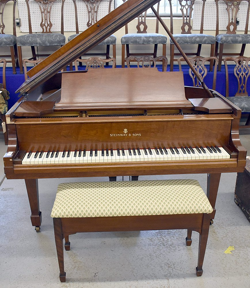 Steinway & Sons Walnut Model M Baby-grand Piano