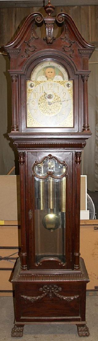 Walter Durfee 9-Tube Mahogany Grandfather Clock