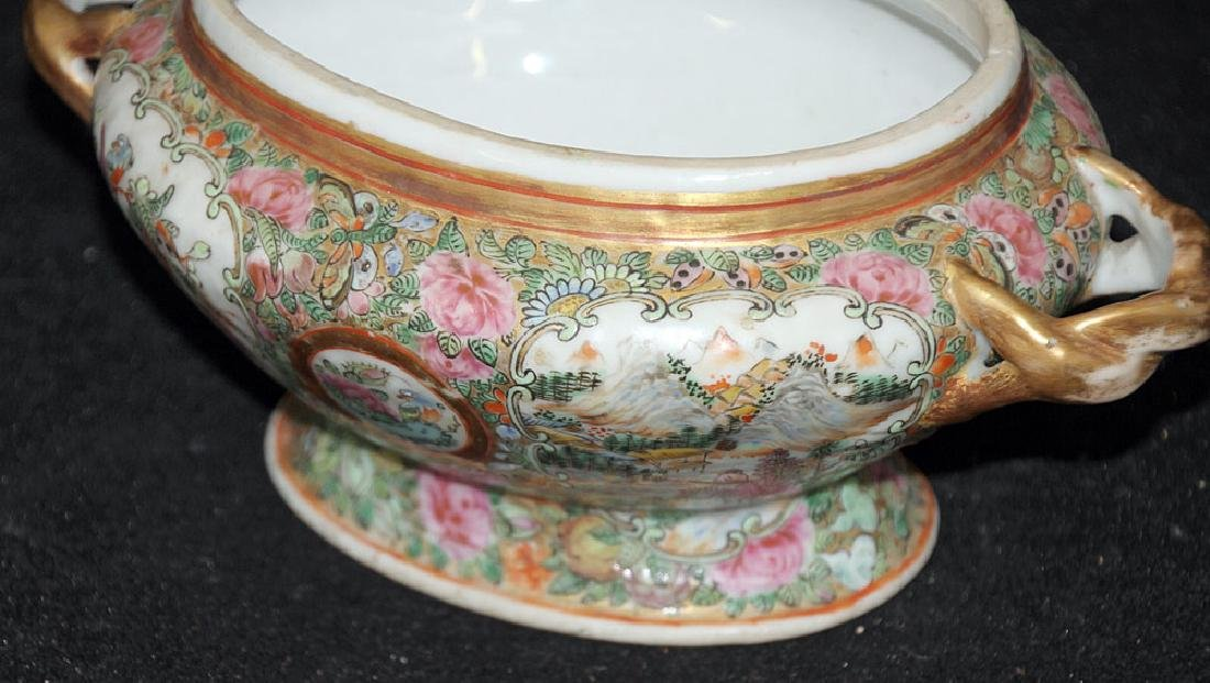 Miniature Chinese Rose Medallion Porcelain Tureen - 4